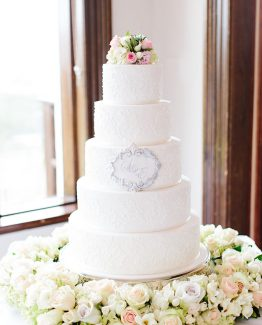 CLASSIC Cake Flowers consisiting of roses, hydrangea and freesias.  Image by Nicole Cordeiro Photography.