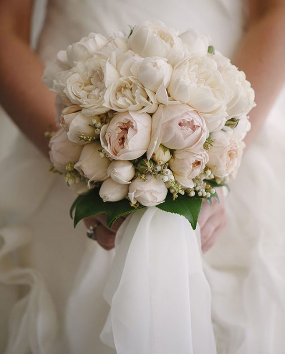 "CLASSIC Bridal Bouquet ""Grace"" consisting of David Austin roses, andromeda and camellia leaf.  Image by Luke Simon Photography."