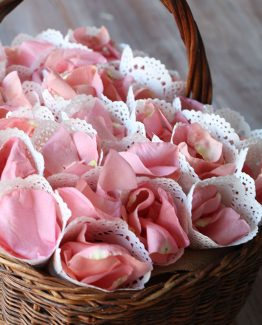 ROMANTIC Fresh Rose Petal Cones.  Image by The White Orchid Floral Design.