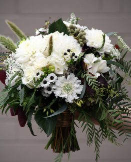 """INDUSTRIAL Bridal Bouquet """"Karen"""" consisting of white dahlias, scabiosa, roses, freesias, mini chrysanthemums, queen anne's lace, blue gum, pepper berry and black berries. Image by The White Orchid Floral Design."""