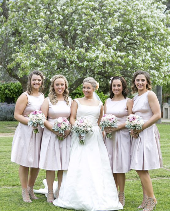 """CLASSIC Bridesmaids Bouquets """"Hayley"""" consisting of ranunculi, roses, gypsophila and dusty miller. Image by Alice Healy Photography."""