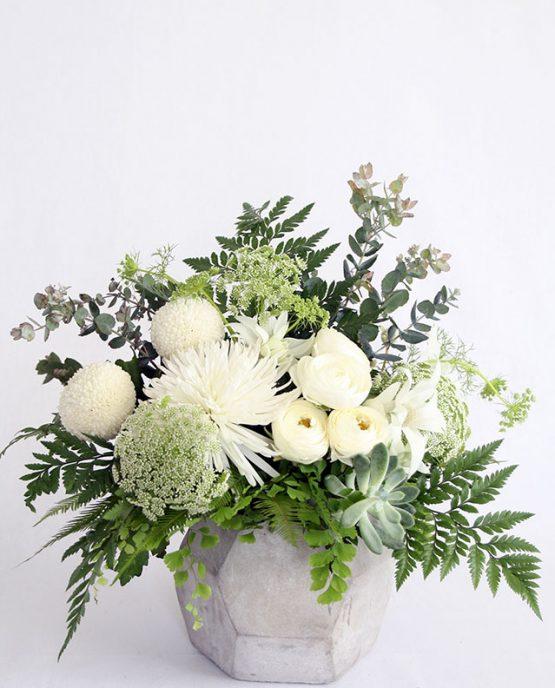 Industrial Concrete Arrangement - The White Orchid Floral Design