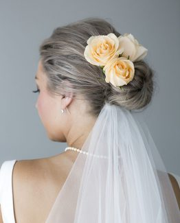 ROMANTIC Individually Wired Hair Flowers consisting of roses.  Image by Alice Healy Photography.