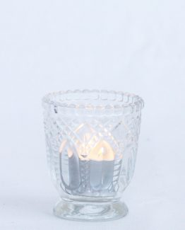 ROMANTIC Tealights consisting of petite glass vessel and 9hr white unscented tealight candle.  Image by The White Orchid Floral Design.