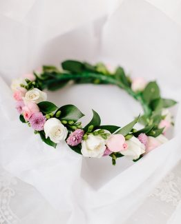 ROMANTIC/CLASSIC Flower Girl Crown consisting of spray roses, freesia and foliage.  Image by Nicole Cordeiro Photography.
