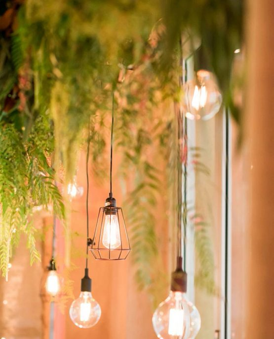 INDUSTRIAL Rectangle Hanging Installation consisting of all mixed textured foliage and fern.  Image by Jade Norwood